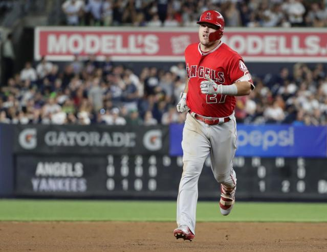 Los Angeles Angels' Mike Trout runs the bases after hitting a home run during the fifth inning of the team's baseball game against the New York Yankees on Friday, May 25, 2018, in New York. (AP Photo/Frank Franklin II)