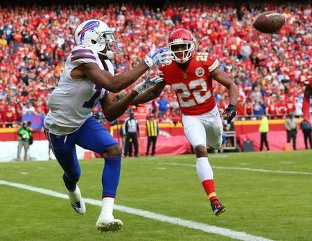 FILE PHOTO: Nov 26, 2017; Kansas City, MO, USA; Buffalo Bills wide receiver Zay Jones (11) catches a touchdown pass as Kansas City Chiefs cornerback Marcus Peters (22) defends in the first half at Arrowhead Stadium. Jay Biggerstaff-USA TODAY Sports