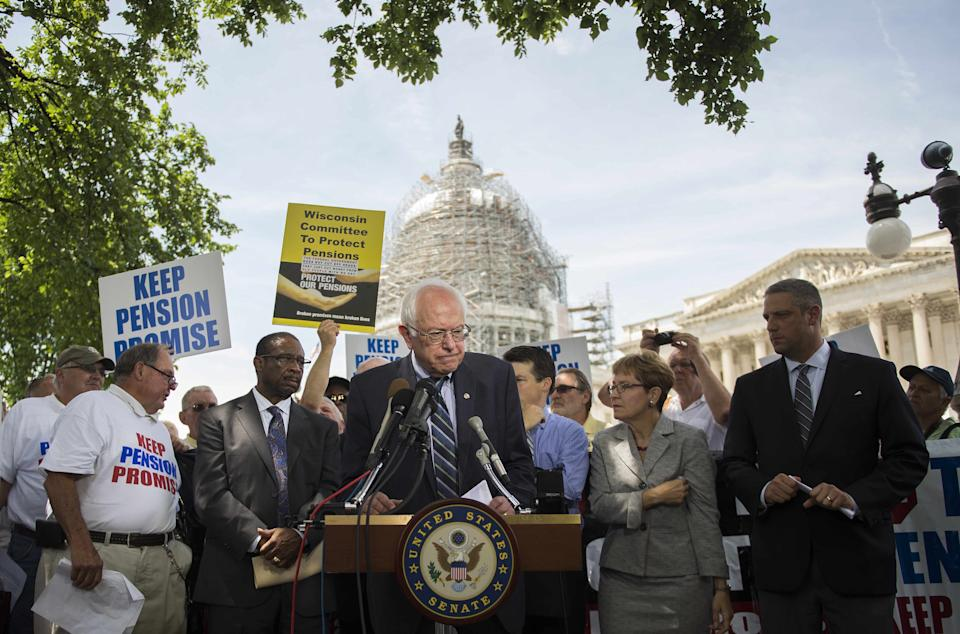 Sen. Bernie Sanders speaks during a news conference to discuss legislation to restore pension guarantees for thousands of retired union workers, in front of the US Capitol in Washington, D.C. on June 18, 2015.
