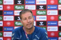 Denmark's head coach Kasper Hjulmand attends a press conference in Elsinore, Denmark, Monday July 5, 2021, ahead of their Euro 2020 soccer championship semifinal match against Denmark in London on Wednesday. (Philip Davali/Ritzau Scanpix via AP)