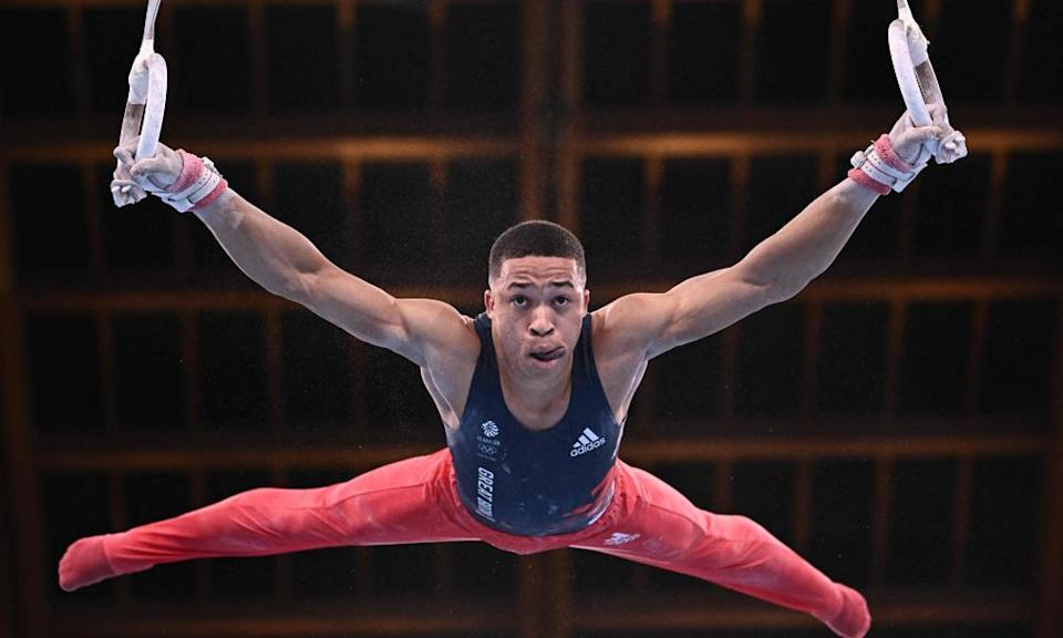 Britain's Joe Fraser fell off the pommel horse but recovered to produce a grandstand finish on the rings.