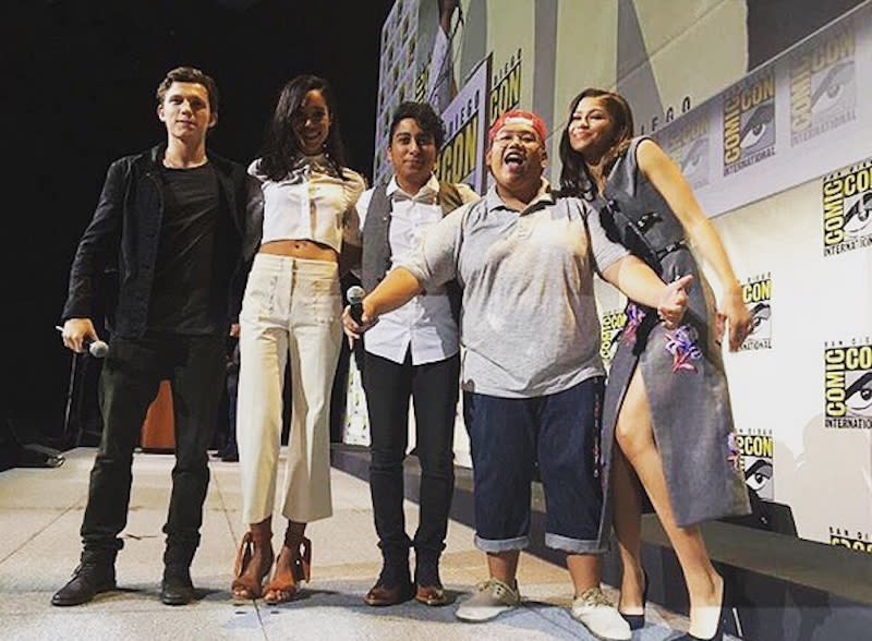 """<p>Holland and co-stars Zendaya, Tony Revolori, Jacob Batalon, and Laura Harrier, along with director Jon Watts (not pictured) made a big splash with early 'Homecoming' footage. <i>(Photo: <a href=""""https://www.instagram.com/p/BIQD86IDjHN/"""" rel=""""nofollow noopener"""" target=""""_blank"""" data-ylk=""""slk:Tom Holland/Instagram"""" class=""""link rapid-noclick-resp"""">Tom Holland/Instagram</a>)<br></i></p>"""