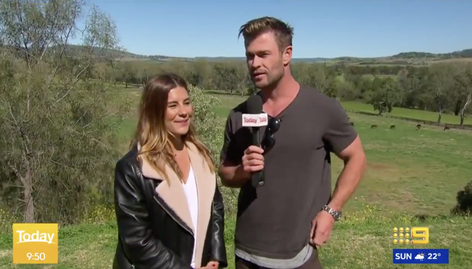 Chris Hemsworth and Lauren Phillips on Weekend Today