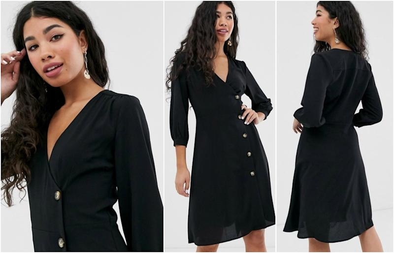 Brave Soul ahana wrap dress with button through detail