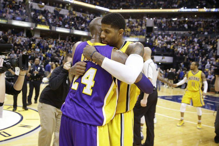 Paul George is still embracing Kobe Bryant. (AP)