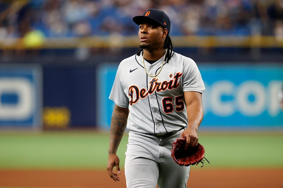 Detroit Tigers pitcher Gregory Soto walks off the field after being relieved against the Tampa Bay Rays during the ninth inning Friday, Sept. 17, 2021, in St. Petersburg, Fla.