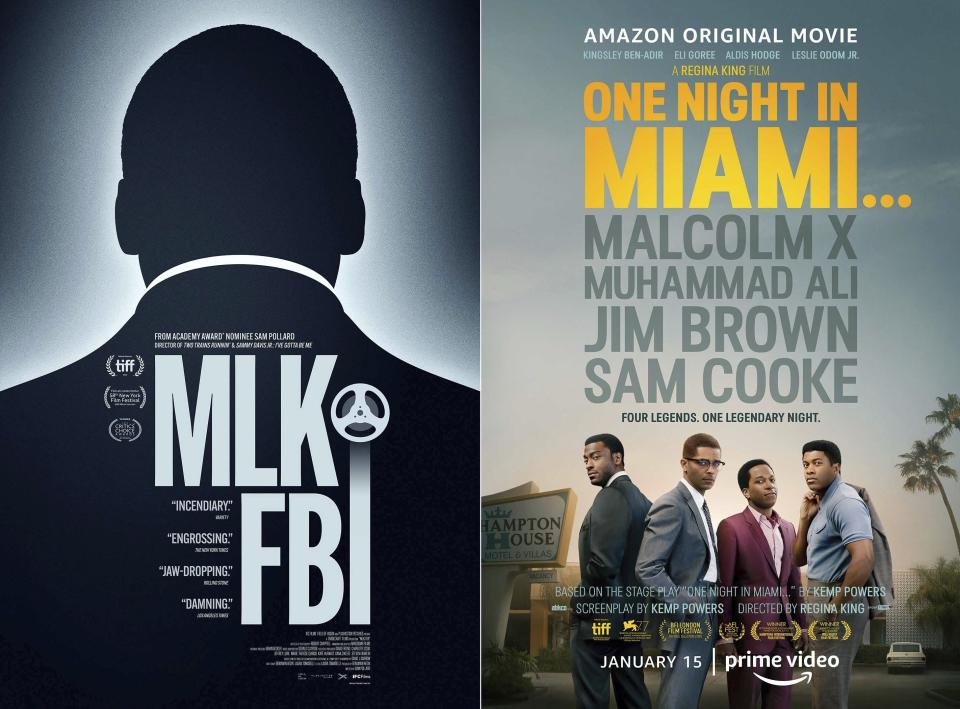 """This combination of photos shows poster art for the documentary """"MLK/FBI,"""" left, in select theaters and available On Demand on Jan. 15, and the film """"One Night in Miami,"""" streaming Jan. 15 on Amazon Prime. (IFC Films, left, and Amazon Studios via AP)"""
