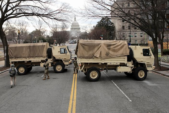 Jan 19, 2021; Washington, DC, USA; The National Guard has set up a road block at New Jersey Ave NW and E St. NW in Washington DC on Jan. 19, 2021.  Security preparations continue around the Nation's Capitol in preparation for the inauguration of President-elect Joe Biden and Vice President-elect Kamala Harris.. Mandatory Credit: Kevin Wexler-NorthJersey.com
