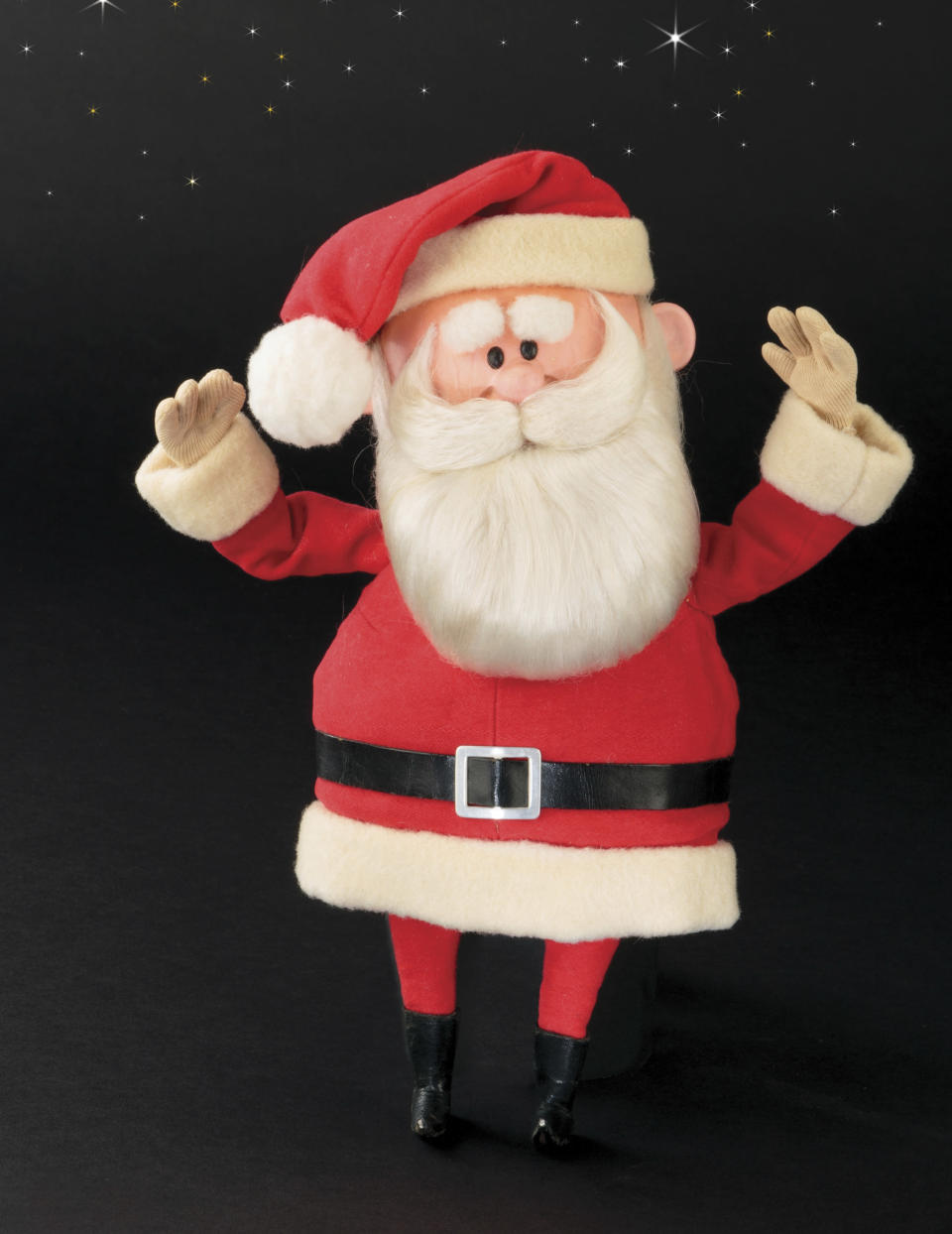 """This image released by Profiles in History shows a Santa Claus puppet used in the filming of the 1964 Christmas special """"Rudolph the Red-Nosed Reindeer."""" A buyer shouted out with glee that they would pay $368,000 for the Rudolph and Santa Claus figures used in the perennially beloved Christmas special """"Rudolph the Red Nosed Reindeer."""" Bidding for the figures soared past the projected sale price of between $150,000 and $200,000 on Friday, Nov. 13, 2020 at the Icons & Legends of Hollywood Auction held in Los Angeles by Profiles in History. (Profiles in History via AP)"""