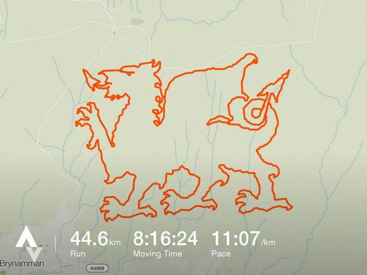 A pair of fell runners have created their own unique piece of art using a GPS tracking app - running 28 miles to trace the outline of an enormous Welsh dragon on a hillside.