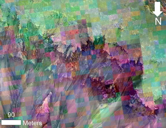 This image combines a photograph of seasonal dark flows on a Martian slope with a grid of colors based on data collected by a mineral-mapping spectrometer observing the same area. Image released Feb. 10, 2014.