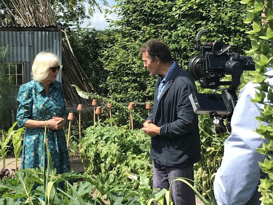 The duchess chatting with Monty Don as they filmed Gardeners' World (BBC/PA)
