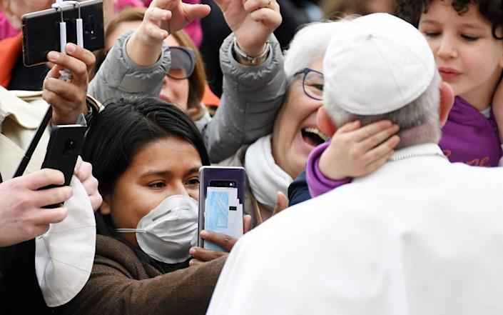 Pope Francis at his general audience in St Peter's Square on Wednesday - ABACA