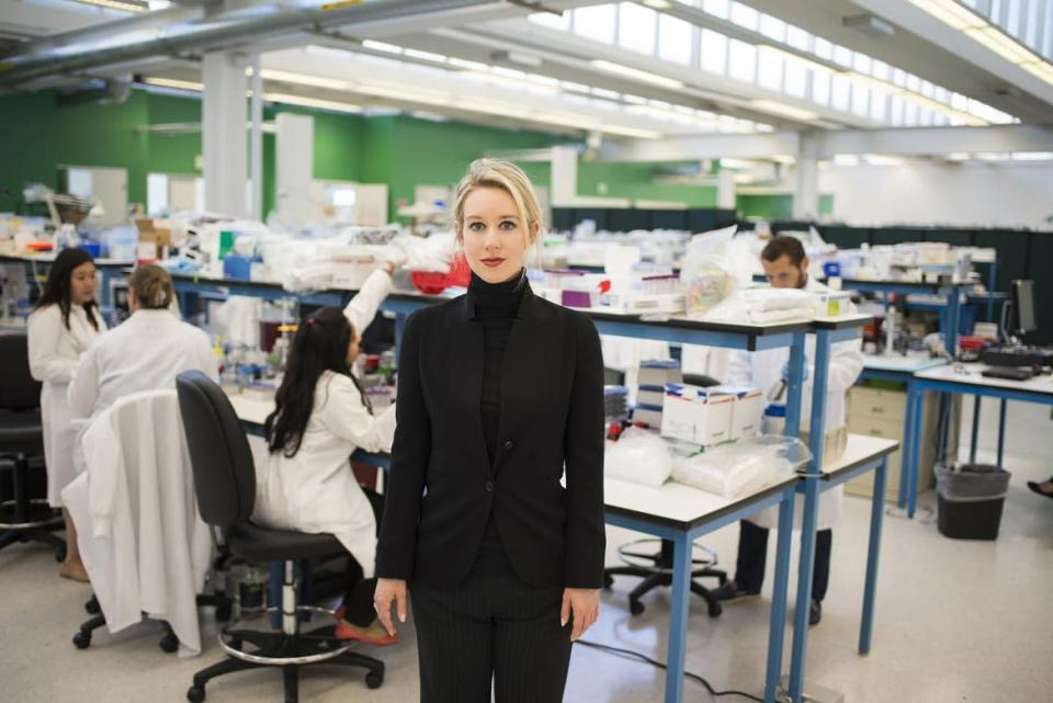 """<div class=""""inline-image__caption""""><p>Theranos founder Elizabeth Holmes in HBO's <em>The Inventor: Out for Blood in Silicon Valley.</em></p></div> <div class=""""inline-image__credit"""">Courtesy of HBO</div>"""