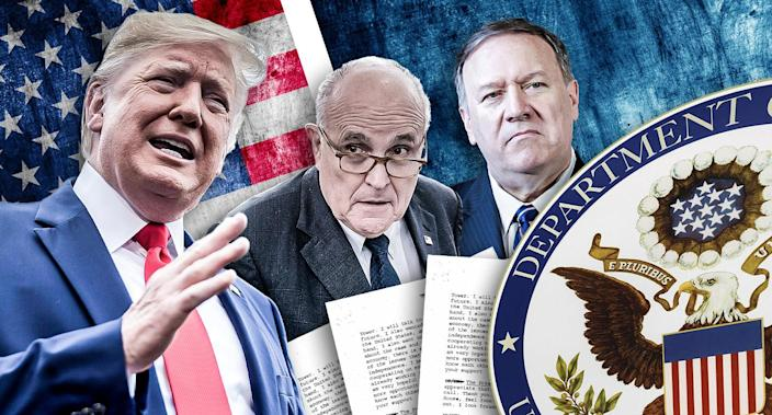 From left, Donald Trump, Rudy Giuliani and Mike Pompeo. (Yahoo News photo illustration; photos: AP, Getty Images)