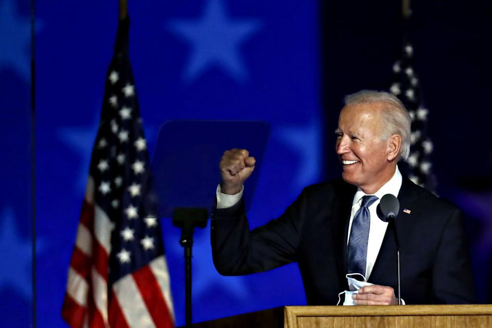 Joe Biden, 2020 Democratic presidential nominee, gestures while arriving during an election night party in Wilmington, Delaware.