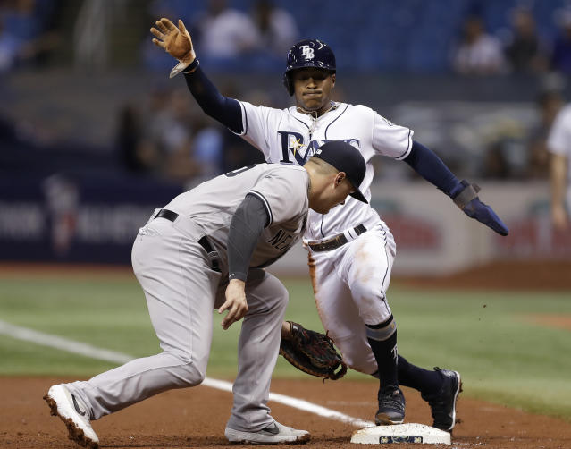 Tampa Bay Rays' Mallex Smith, right, gets back safely to first base as New York Yankees' Luke Voit is late with the tag on a pickoff attempt during the first inning of a baseball game Wednesday, Sept. 26, 2018, in St. Petersburg, Fla. (AP Photo/Chris O'Meara)