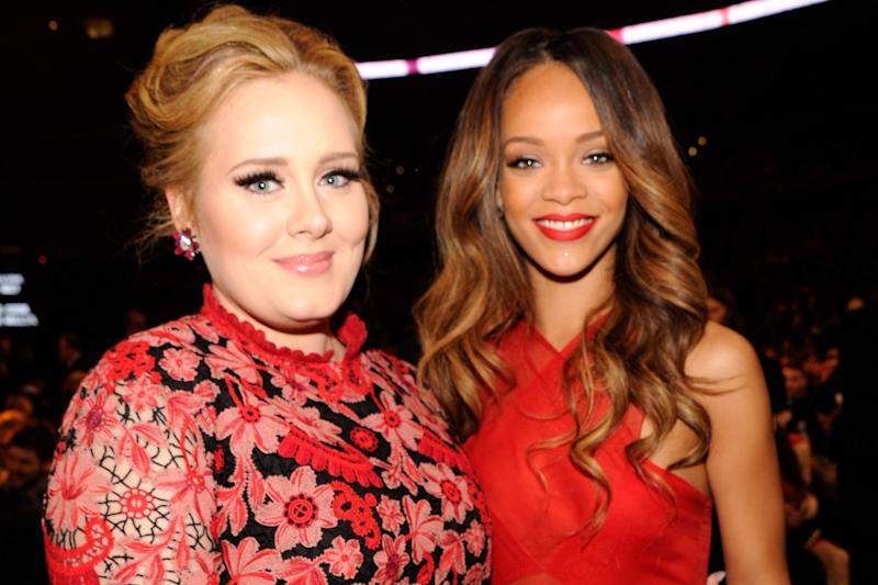 Gushing: Adele with Rihanna at the 55th Annual GRAMMY Awards: Kevin Mazur/WireImage