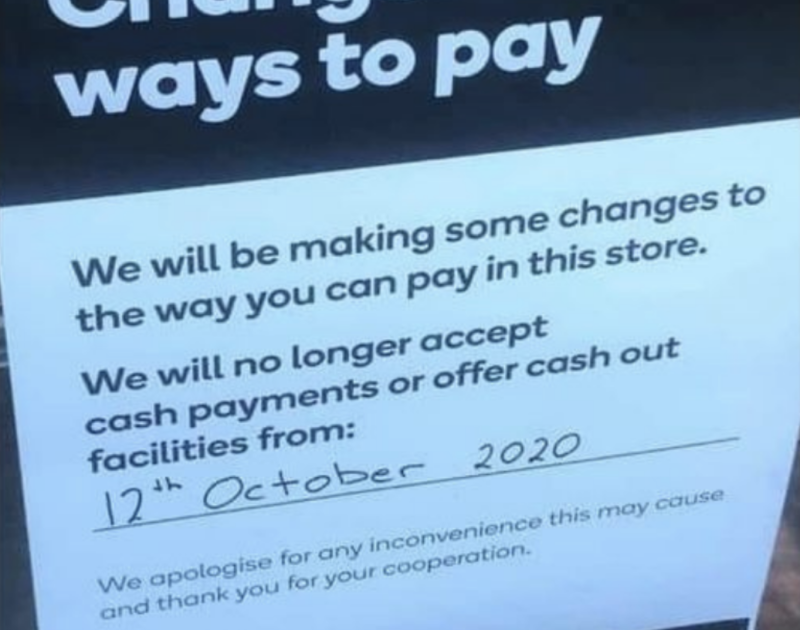 Pictured is a notice at a Woolworths store advising customers it will only be accepting card payments.