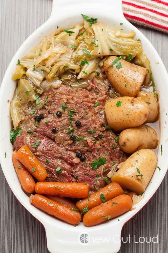 """<p>Make the traditional Irish meal in your slow-cooker for amazingly tender beef.</p><p>Get the recipe from <a href=""""http://www.chewoutloud.com/2015/03/10/slow-cooker-corned-beef-with-cabbage/"""" rel=""""nofollow noopener"""" target=""""_blank"""" data-ylk=""""slk:Chew Out Loud"""" class=""""link rapid-noclick-resp"""">Chew Out Loud</a>.</p>"""