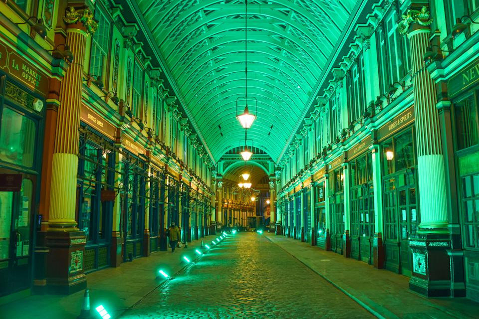 The losses in London have been the highest, amounting to £51.4bn of lost economic activity. Above, Leadenhall Market in the City of London. Photo: Vuk Valcic/SOPA Images/LightRocket via Getty Images