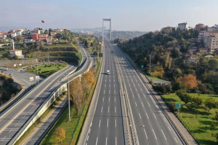 Drone footage reveals a highway during a two-day curfew which was imposed to prevent the spread of the coronavirus disease (COVID-19), in Istanbul