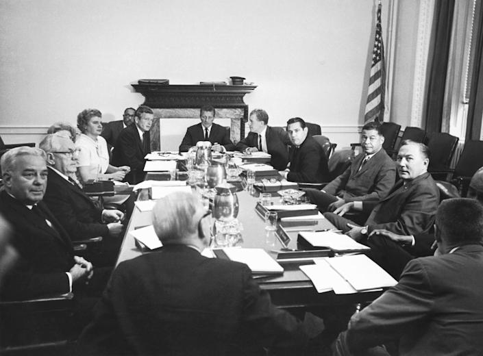 The Kerner Commission in session, Washington D.C, 1967. Officially called the National Advisory Commission on Civil Disorders, it was created by President Lyndon Johnson to investigate the causes of the 1967 race riots in the United States and to provide recommendations for the future. (Photo: Underwood Archives via Getty Images)