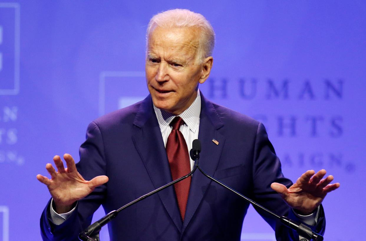 Former Vice President Joe Biden speaks in Columbus, Ohio, on Saturday. His absence from big gatherings in San Francisco that attracted several other Democratic presidential candidates highlighted his challenges with some progressive voters. (Photo: ASSOCIATED PRESS/Paul Vernon)