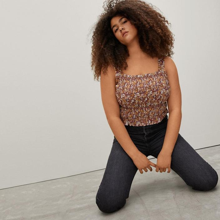 """Ditsy florals and all-over ruching make our hearts flutter big time. $50, Everlane. <a href=""""https://www.everlane.com/products/womens-smock-cami-brown-floral?collection=womens-sale"""" rel=""""nofollow noopener"""" target=""""_blank"""" data-ylk=""""slk:Get it now!"""" class=""""link rapid-noclick-resp"""">Get it now!</a>"""