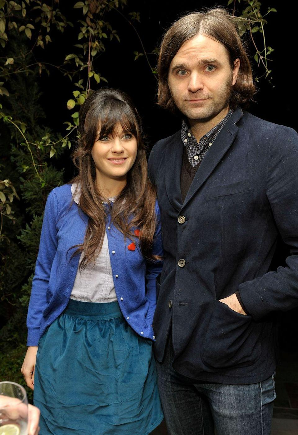"""<p>Zooey and the Death Cab for Cutie frontman got married in September 2009 after being introduced by their mutual music manager. """"I'd seen her movies and obviously, I thought she was very beautiful,"""" Ben told <a href=""""http://nymag.com/arts/tv/profiles/zooey-deschanel-2011-9/index2.html"""" rel=""""nofollow noopener"""" target=""""_blank"""" data-ylk=""""slk:New York magazine"""" class=""""link rapid-noclick-resp""""><em>New York</em> magazine</a>. """"I was just awestruck that she was even talking to me."""" Alas, it didn't last. The couple <a href=""""https://www.usmagazine.com/celebrity-news/news/zooey-deschanel-husband-ben-gibbard-split-2011111/"""" rel=""""nofollow noopener"""" target=""""_blank"""" data-ylk=""""slk:announced"""" class=""""link rapid-noclick-resp"""">announced</a> their separation in November 2011.</p>"""