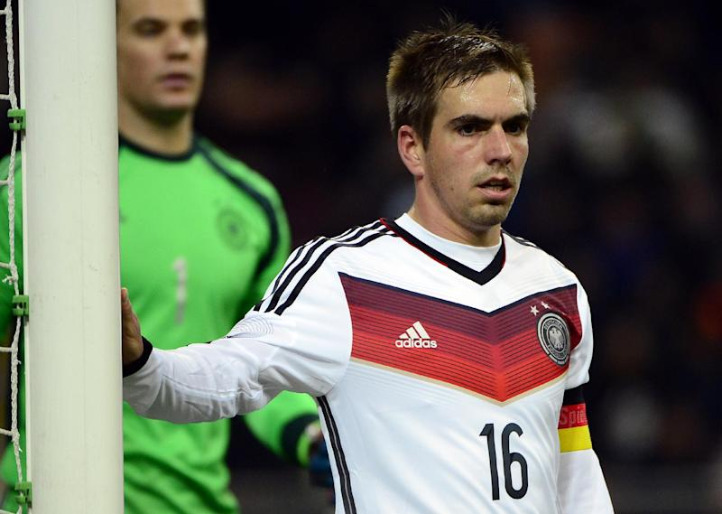 Germany defender and captain Philipp Lahm pictured before a corner kick during his side's pre-World Cup friendly against Italy on November 15, 2013 at the San Siro stadium in Milan
