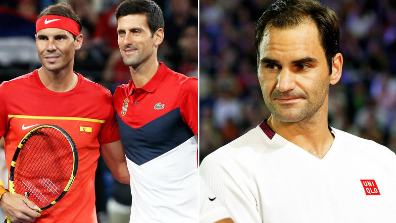 Rafael Nadal, Novak Djokovic and Roger Federer, pictured here ahead of the Australian Open.
