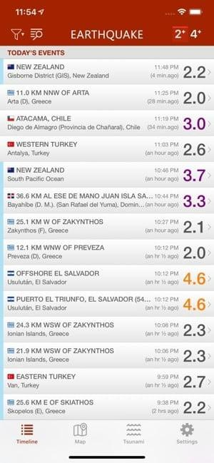 Screenshot of the Earthquake app showing a list of earthquakes and their magnitude