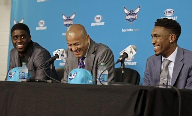 "Hornets GM Rich Cho couldn't help but laugh after introducing <a class=""link rapid-noclick-resp"" href=""/ncaab/players/131171/"" data-ylk=""slk:Dwayne Bacon"">Dwayne Bacon</a> as 'Dwayne Wade.' (AP)"