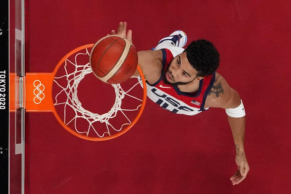 USA's Jayson Tatum goes to the basket in the men's preliminary round group A basketball match between USA and Czech Republic during the Tokyo 2020 Olympic Games at the Saitama Super Arena in Saitama on July 31, 2021. (Photo by Brian SNYDER / POOL / AFP) (Photo by BRIAN SNYDER/POOL/AFP via Getty Images)