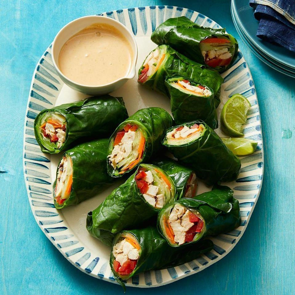 """<p>Switch your go-to flour tortilla for Swiss chard in a healthier take on this Thai-style chicken wrap. And don't worry, the leafy green is definitely sturdy enough to hold all of the tasty fillings and multiple dips in the honey-ginger peanut sauce.<br></p><p><em><a href=""""https://www.womansday.com/food-recipes/a32293196/thai-style-peanut-chicken-wraps-recipe/"""" rel=""""nofollow noopener"""" target=""""_blank"""" data-ylk=""""slk:Get the Thai-Style Peanut Chicken Wraps recipe."""" class=""""link rapid-noclick-resp"""">Get the Thai-Style Peanut Chicken Wraps recipe.</a></em></p>"""