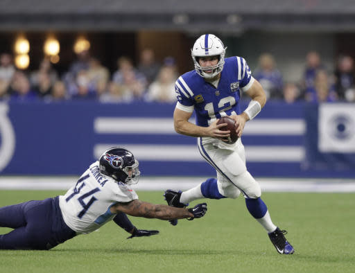 """There's no stopping <a class=""""link rapid-noclick-resp"""" href=""""/nfl/players/25711/"""" data-ylk=""""slk:Andrew Luck"""">Andrew Luck</a> as he settles into a career year (AP Photo/Michael Conroy)"""