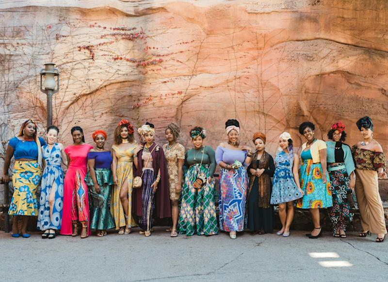 The women caused quite a commotion as they posed for pictures at Disneyland on Feb. 8 (Photo: Madeline Barr)