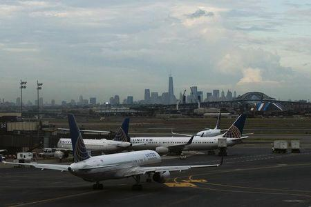 United Airlines' planes are seen at the Newark Liberty International Airport in New Jersey