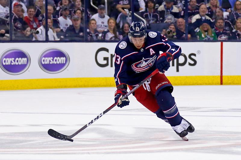Cam Atkinson #13 of the Columbus Blue Jackets