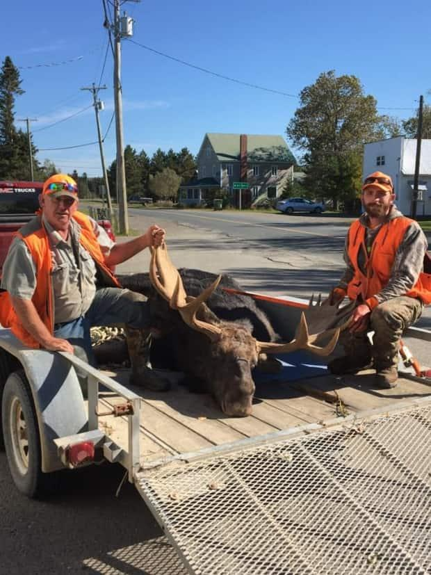 Tracey, left, and Joel Paget shot a moose in Zone 6, the Grand Falls and Plaster Rock area, last week. (Tracey Paget/Submitted - image credit)
