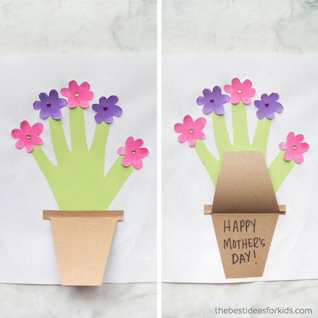 """<p>Here's another cute way to incorporate your child's hand into their Mother's Day card project. The flip-up design hides the message, but the outside of the pot could be decorated with it, too. </p><p><strong>Get the tutorial at <a href=""""https://www.thebestideasforkids.com/mothers-day-handprint-flower/"""" rel=""""nofollow noopener"""" target=""""_blank"""" data-ylk=""""slk:The Best Ideas for Kids"""" class=""""link rapid-noclick-resp"""">The Best Ideas for Kids</a>. </strong></p><p><a class=""""link rapid-noclick-resp"""" href=""""https://go.redirectingat.com?id=74968X1596630&url=https%3A%2F%2Fwww.walmart.com%2Fsearch%2F%3Fquery%3Dconstruction%2Bpaper&sref=https%3A%2F%2Fwww.thepioneerwoman.com%2Fholidays-celebrations%2Fg35668391%2Fdiy-mothers-day-cards%2F"""" rel=""""nofollow noopener"""" target=""""_blank"""" data-ylk=""""slk:SHOP CONSTRUCTION PAPER"""">SHOP CONSTRUCTION PAPER</a></p>"""