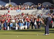 USA's Jim Furyk reacts after missing a putt on the 18th hole and losing to Europe's Sergio Garcia during a singles match at the Ryder Cup PGA golf tournament Sunday, Sept. 30, 2012, at the Medinah Country Club in Medinah, Ill. (AP Photo/Charlie Riedel)