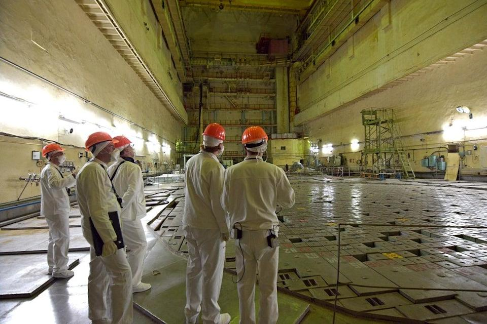 The team conducting a sensing exercise at reactor 3 (SSE Chernobyl NPP/PA)