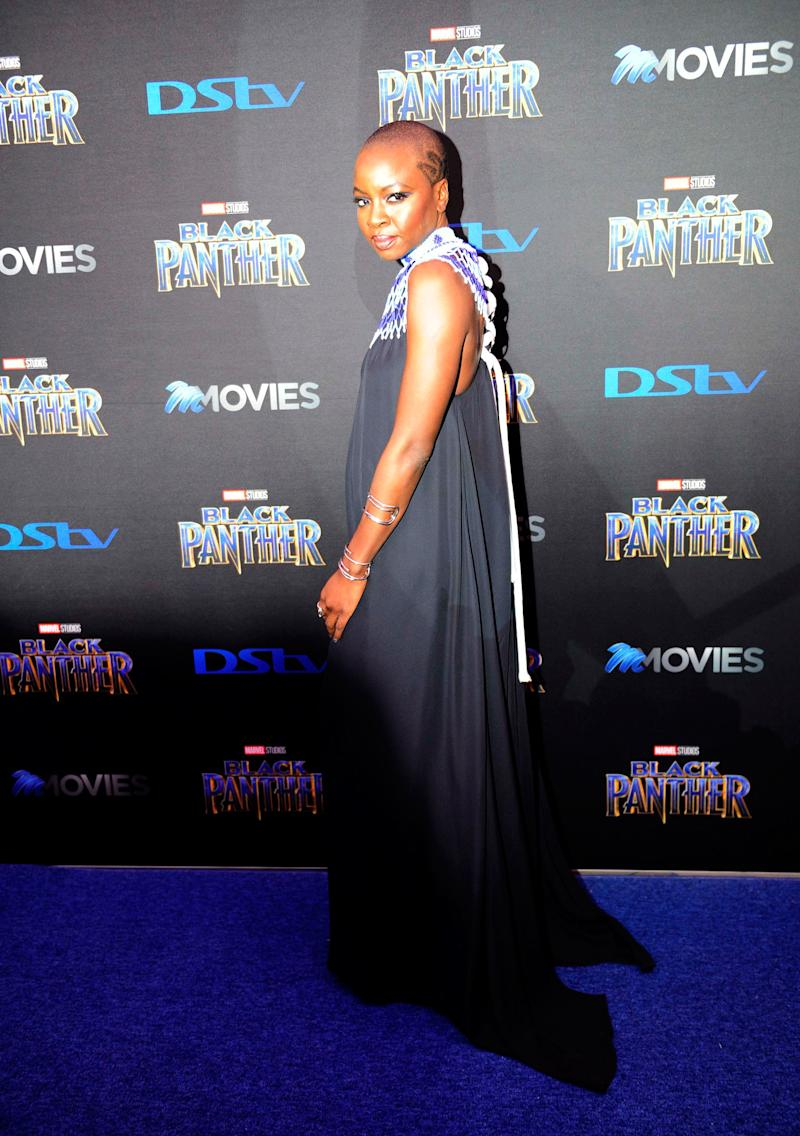 Danai Gurira What: The Row Where: At the Black Panther premiere, Fourways, South Africa When: February 16, 2018