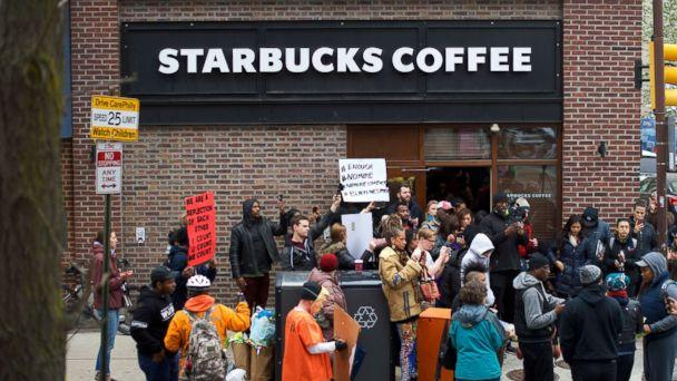 PHOTO: Protesters demonstrate outside a Center City Starbucks, April 15, 2018 in Philadelphia. (Mark Makela/Getty Images)