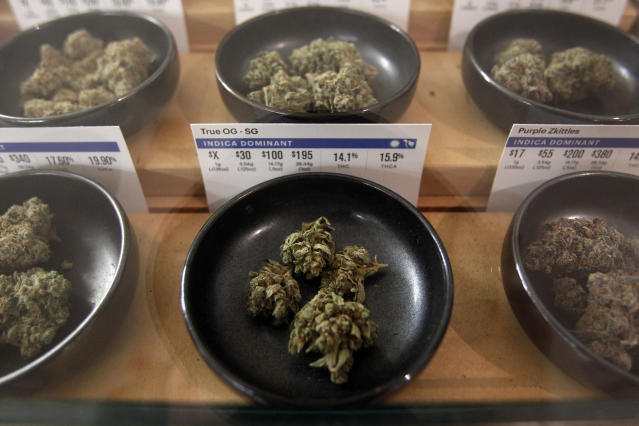 <p>Different types of marijuana sit on display at Harborside marijuana dispensary, Monday, Jan. 1, 2018, in Oakland, Calif. (Photo: Mathew Sumner/AP) </p>