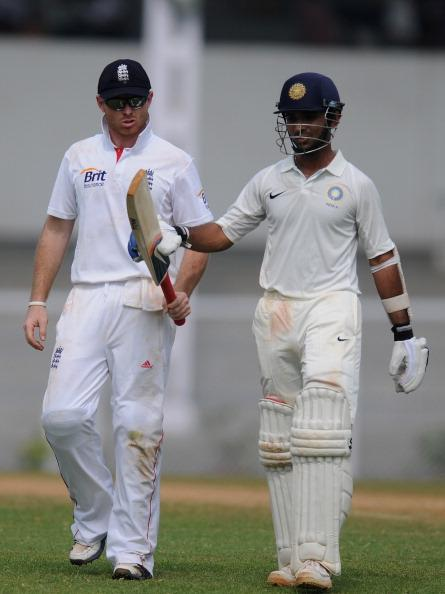 "MUMBAI, INDIA - NOVEMBER 01: Ian Bell (L) of England checks the bat of Ajinkya Rahane of India 'A"" during the final day of the first practice match between England and India 'A' at the CCI (Cricket Club of India) ground, on November 1, 2012 in Mumbai, India.  (Photo by Pal Pillai/Getty Images)"