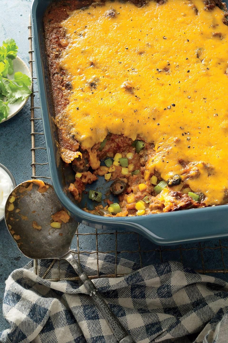 """<p><strong>Recipe: <a href=""""https://www.southernliving.com/recipes/deb-wise-tamale-pie-mix-up-recipe"""" rel=""""nofollow noopener"""" target=""""_blank"""" data-ylk=""""slk:Deb Wise's Tamale Pie Mix-Up"""" class=""""link rapid-noclick-resp"""">Deb Wise's Tamale Pie Mix-Up</a></strong></p> <p>What do you need for taco night? Ground beef, fresh peppers and onions, Mexican spices, and of course, plenty of cheese. What if we told you that instead of standing in line to top your own tacos, you could serve up a casserole with all that comfort in one scoop. We've been turning to this recipes at dinnertime for years, and your family is going to love it, too.</p>"""