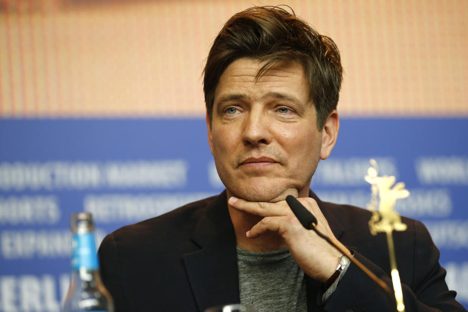 Director Thomas Vinterberg attends the press conference for the movie 'The Commune' at the 2016 Berlinale Film Festival in Berlin, Germany, Wednesday, Feb. 17, 2016. (AP Photo/Axel Schmidt)